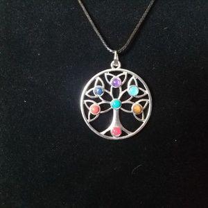 Chakra tree necklace